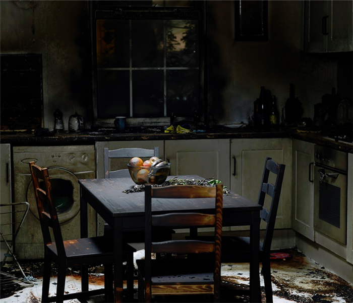 kitchen and a dinning set that was damaged by a fire